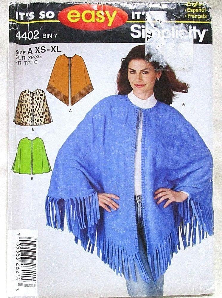 074bc3abd Simplicity Pattern 4402 Size XS-XL Misses Ponchos Cape Cloak Adaptive Uncut  #Simplicity