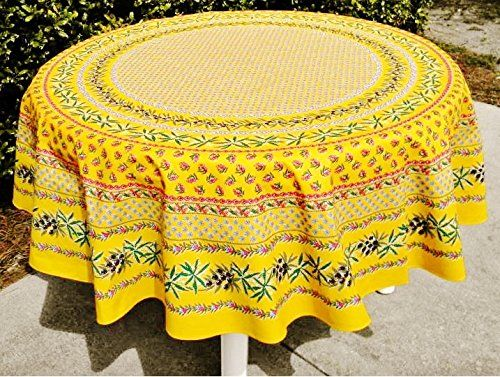 Le Cluny, Olives And Mimosas, Yellow, French Provence 100 Percent COATED Cotton  Tablecloth