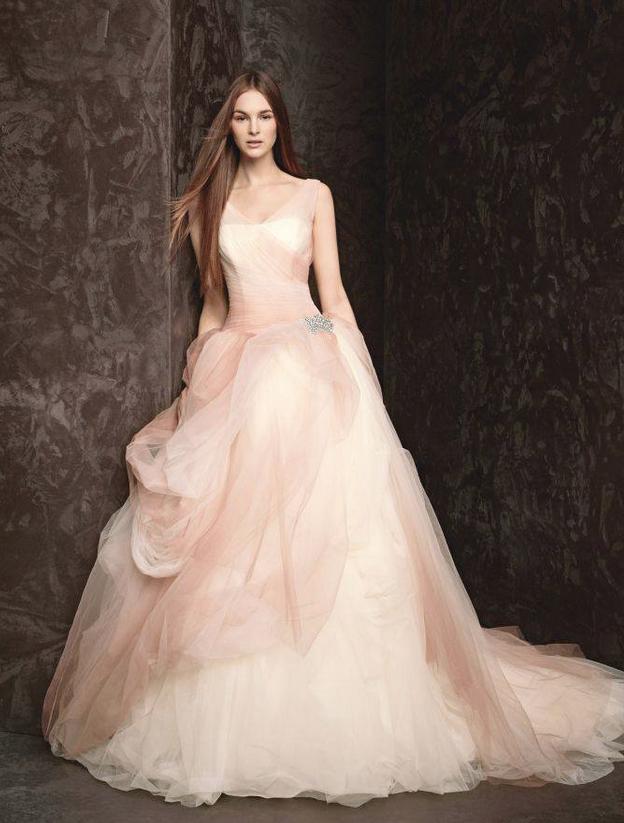 Vera Wang Pink Wedding Dress Ball Gown Wedding Dresses Vera Wang Vera Wang Bridal Tulle Ball Gown