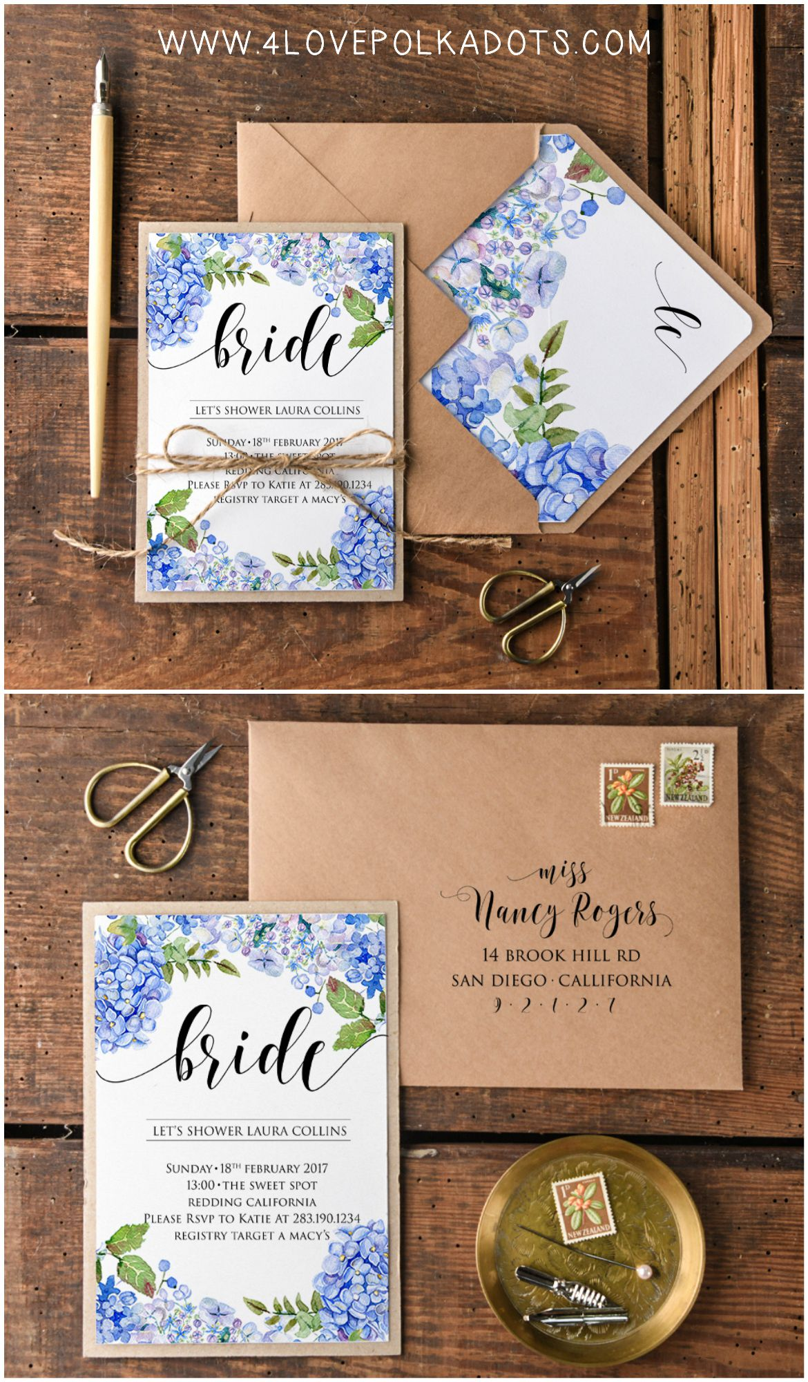 bridal shower wedding invitations full of flowers eco ecofriendly rustic hydrangea blue bridetobe bridalshower