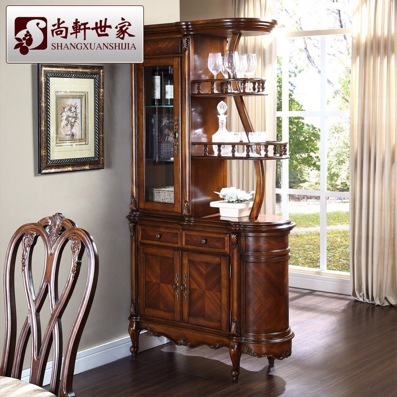 American style solid wood wine cabinet fashion corner cabinet partition  glass bar counter console cabinet storage. Curved oak corner bar with stools   Products I Love   Pinterest