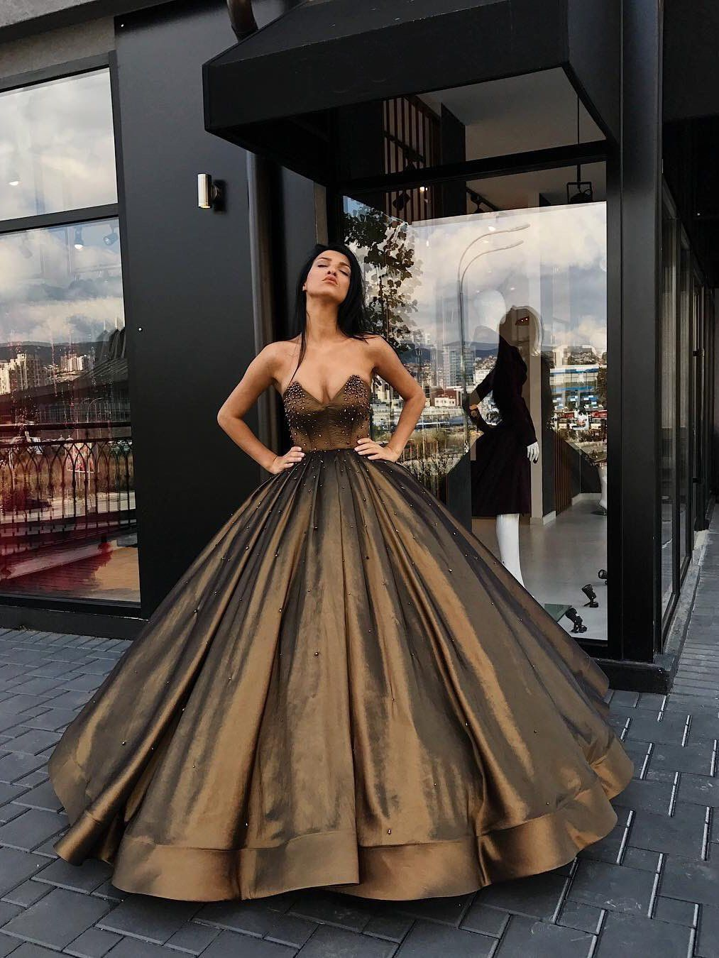 Ball gown prom dresses sweetheart floorlength brown long prom dress
