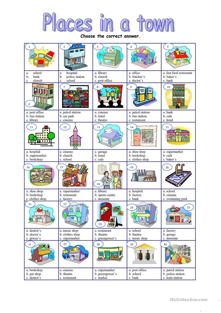 places in a town multiple worksheet free esl printable worksheets made by teachers enkku. Black Bedroom Furniture Sets. Home Design Ideas