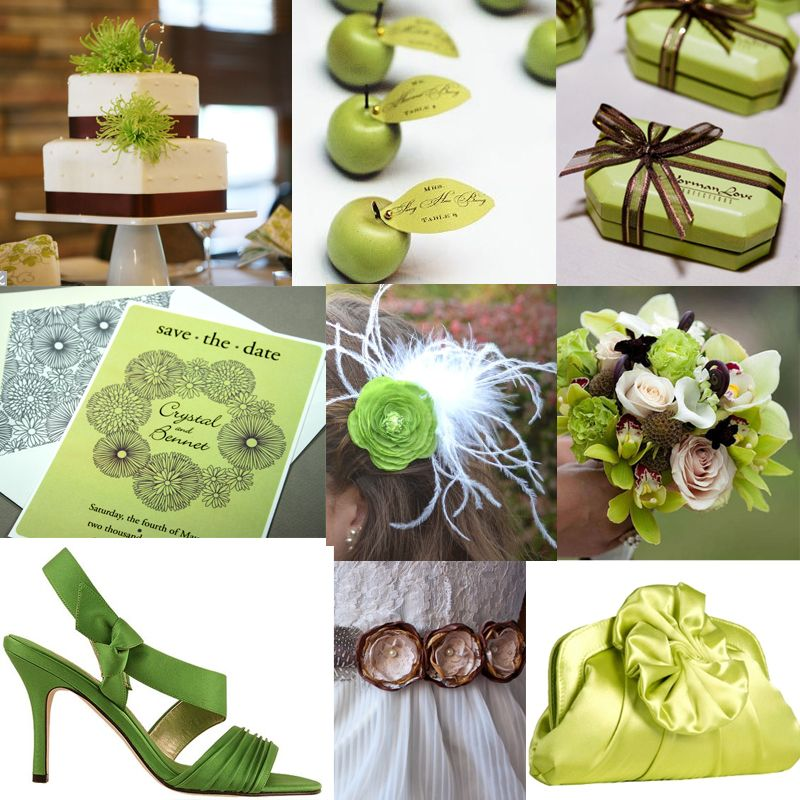 Wedding Themes And Colors | Apple Green and Brown Inspiration ...