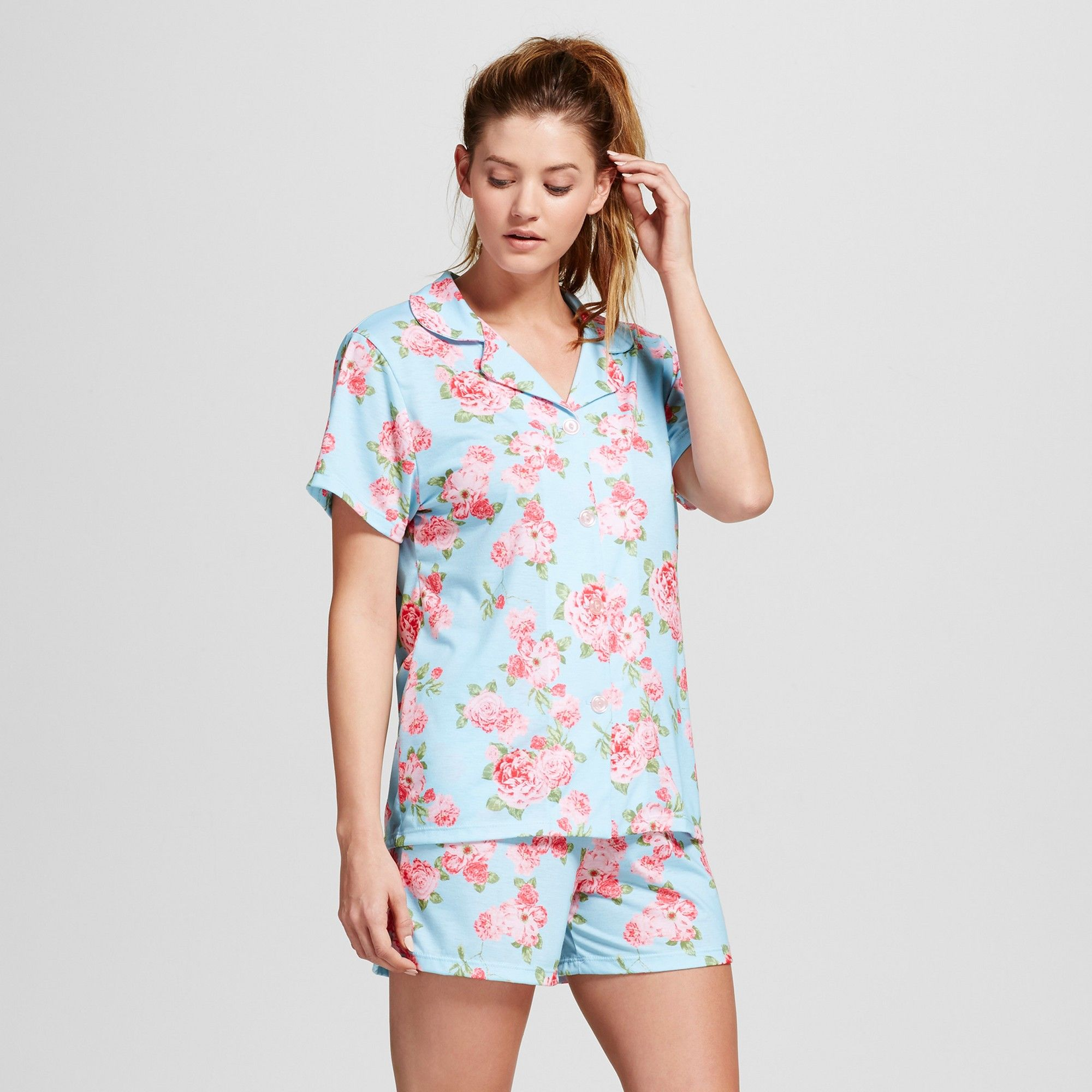 c99204bd745 Bride & Beauties by Bedhead Pajamas Women's Notch Collar Classic Cabbage  Rose Shorty Pajama Set - Blue M