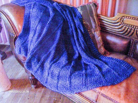 Blanket Blue       Summer weight Afghan light by nouveauvintageltd