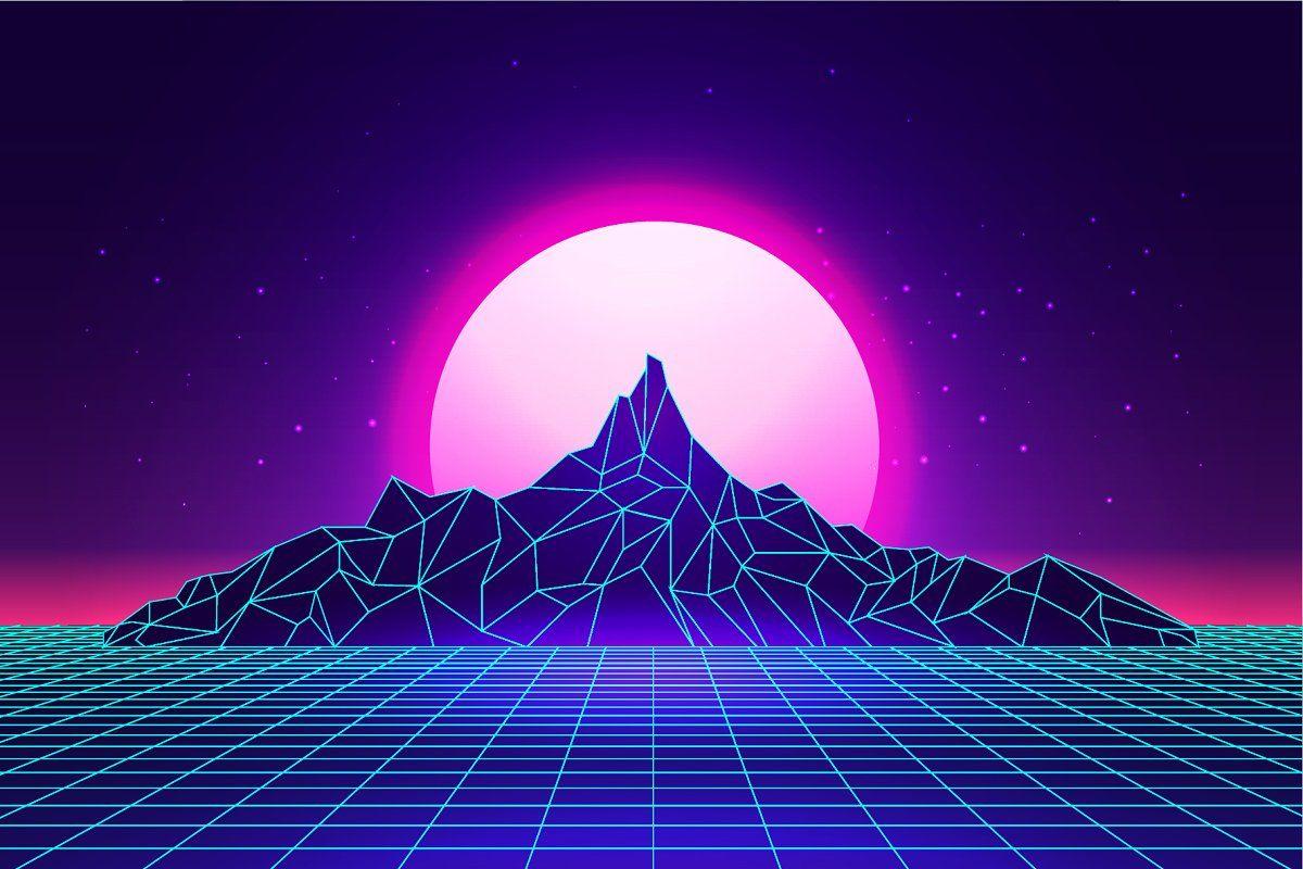 Vaporwave mountains landscape in 2020 | Futuristic ...