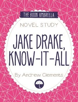 This is a novel study for Jake Drake, Know-It-All by Andrew Clements. 25 pages of student work, plus an answer key! This novel study divides Jake Drake, Know-It-All into five sections for study.