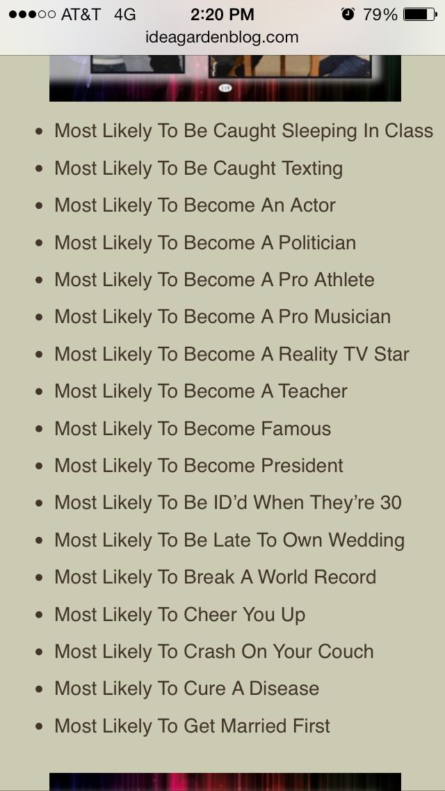 Senior Superlatives ideas. Getting tired of the ones we ...