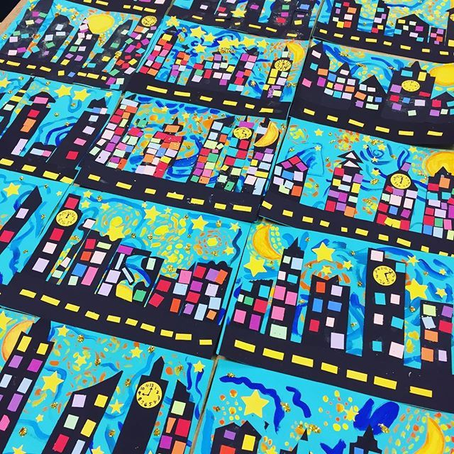 Third Grade Starry Night Cityscapes! #sharksmakeart | Art ...