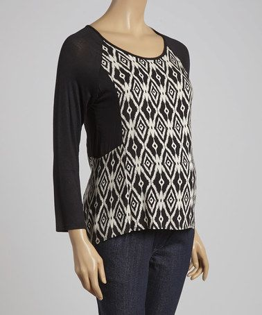 Love this Due Time Black & Stone Ikat Maternity Top - Women on #zulily! #zulilyfinds