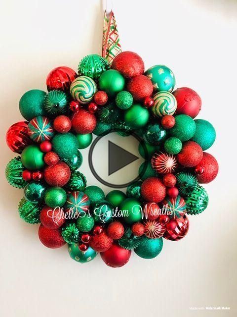 red and green christmas ball bauble wreath #baublewreath red and green christmas ball bauble wreath