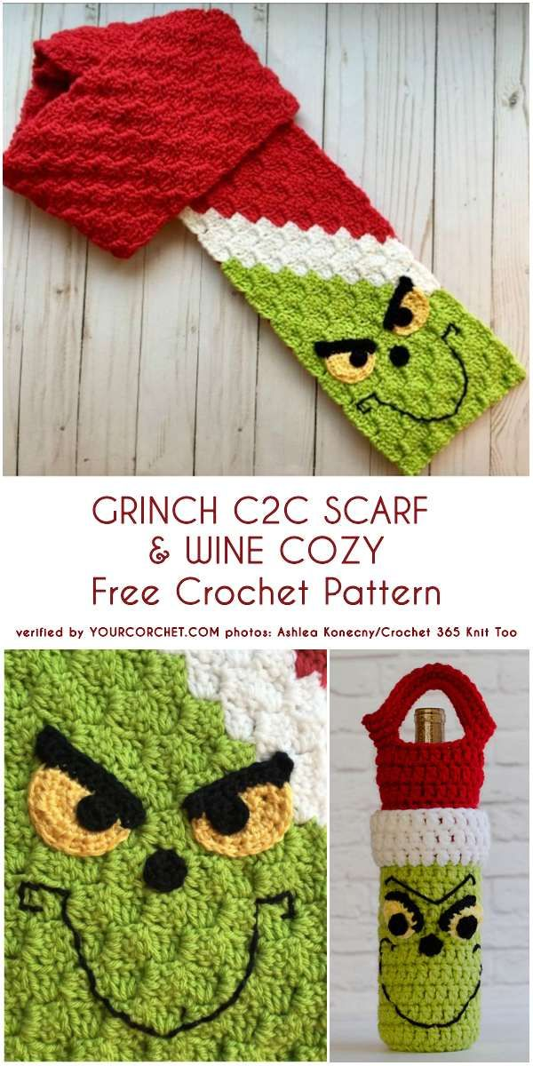 Grinch C2C Scarf and Wine Cozy Free Crochet Patterns