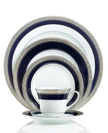 "Absolutely royal and stunning- my other wedding china idea. Noritake ""Crestwood Cobalt Platinum""."