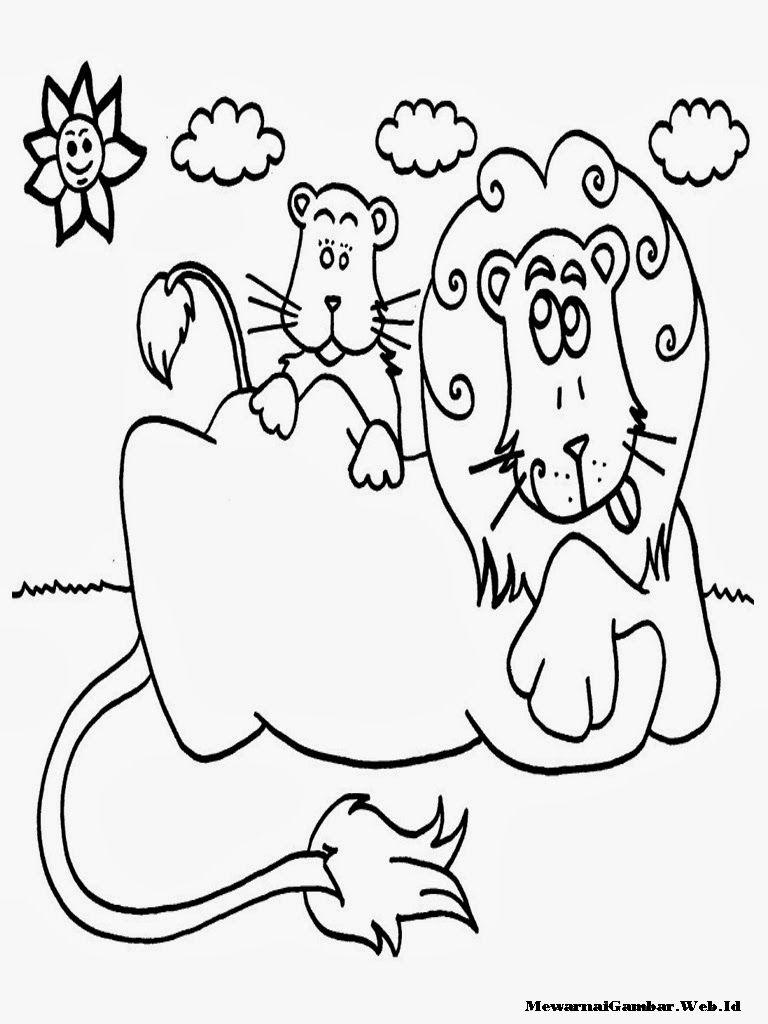 Singa Dengan Gambar Warna Gambar Kartun