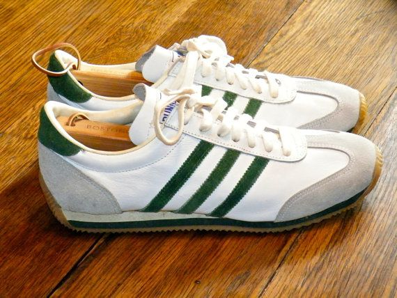 Deadstock Vintage Mens Runner Tennis Shoes Green Striped Retro Sneakers Athletic Trainers Vintage Running Shoes Size 10 Retro Sneakers Tennis Shoes Vintage Shoes