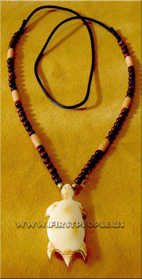 Carved Bone Turtle Necklace.