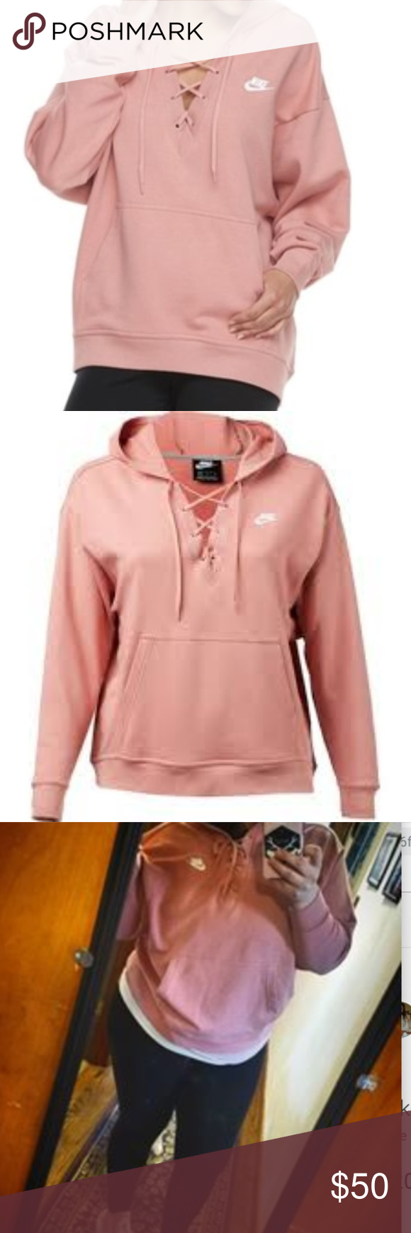 Nike Pink Oversized Xl Pink Lace Up Peasant Hoodie Clothes Design Oversize Hoodie Hoodies [ 1740 x 580 Pixel ]