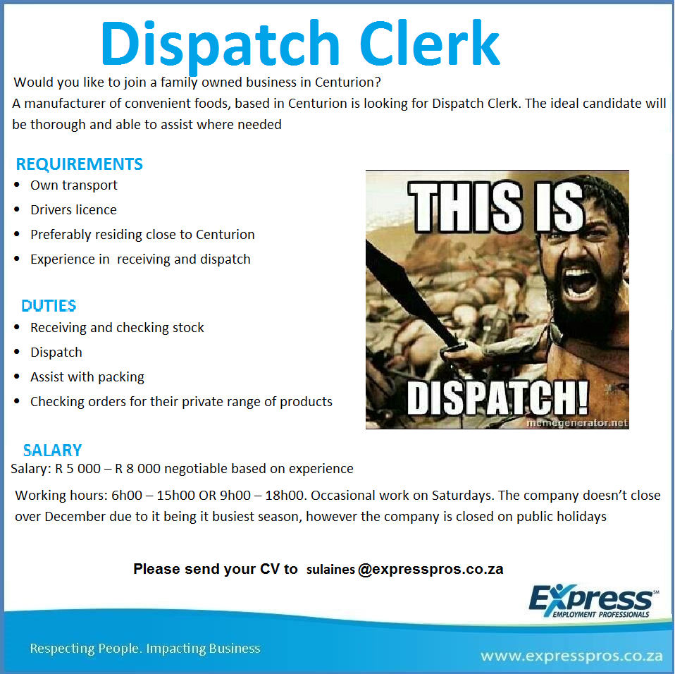 Dispatch Clerk Position Is Open  Please Apply If You Meet The
