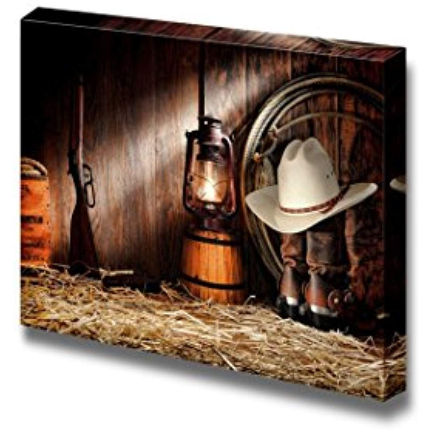 Canvas Prints Wall Art American West Rodeo Cowboy Gear With White Straw Hat Atop Leather Boots Vintage Style Wall Art Wall Art Canvas Prints American West