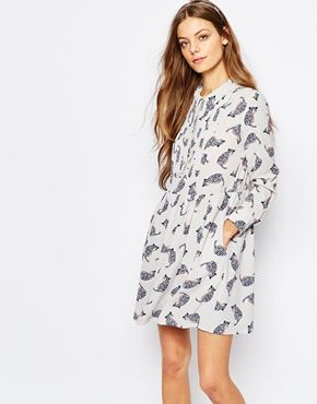 Paul And Joe Sister Babydoll Dress In Grey Cat Print