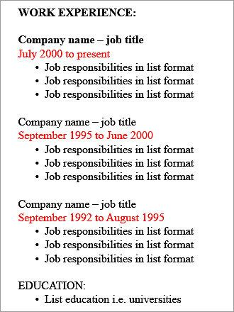 job history resume - Google Search Microsoft Pinterest - reverse chronological order
