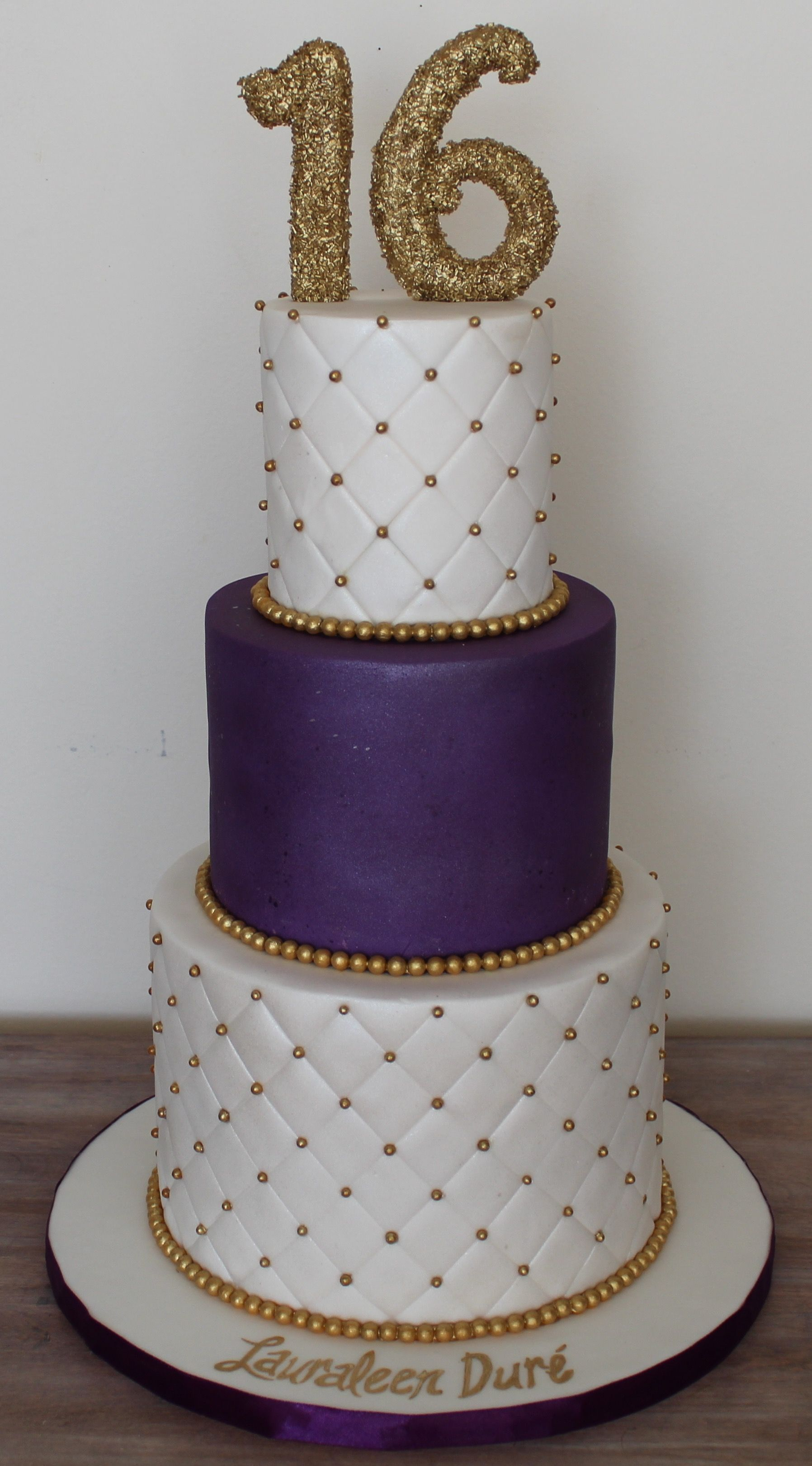 Sweet Sixteen 16 birthday cake elegant clean plum royal purple and