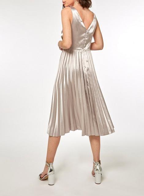 50cbbb046427 Womens   Luxe Silver Pleat Midi Skater Dress- Silver