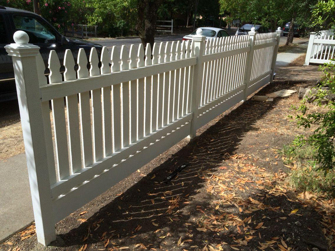 White Picket Fence Ball Post Caps Gothic Pickets Calistoga Ca Picket Fence Fence White Picket Fence