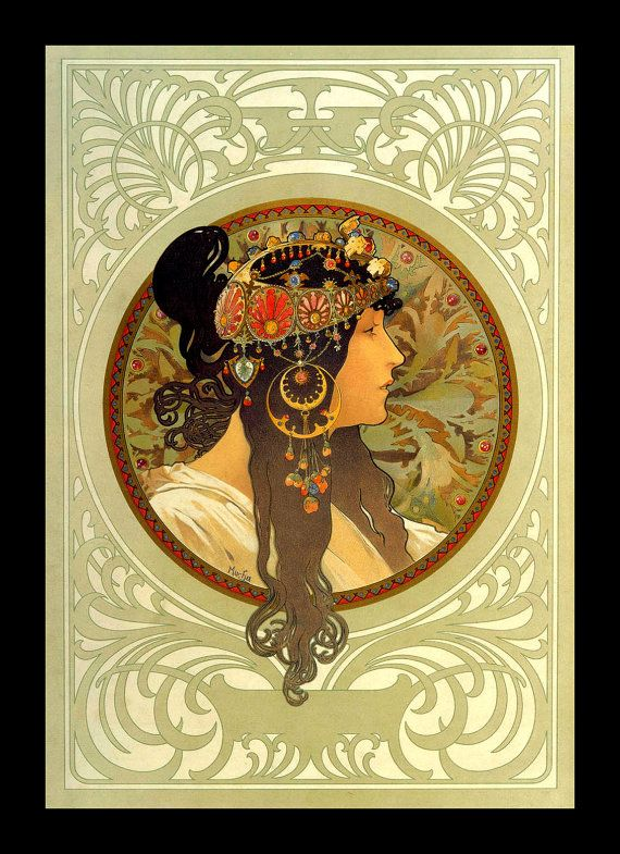 Mucha Art Nouveau Byzantine Profile  8 x 10 by RosiesVintageArt, $8.95
