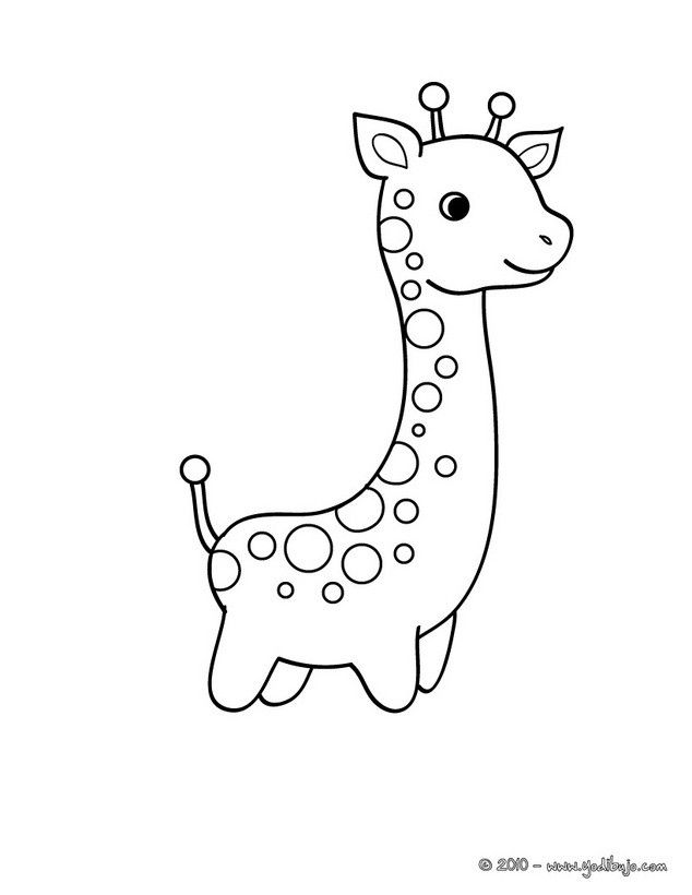 Dibujos ANIMALES DE LA SABANA para colorear BEBE JIRAFA para