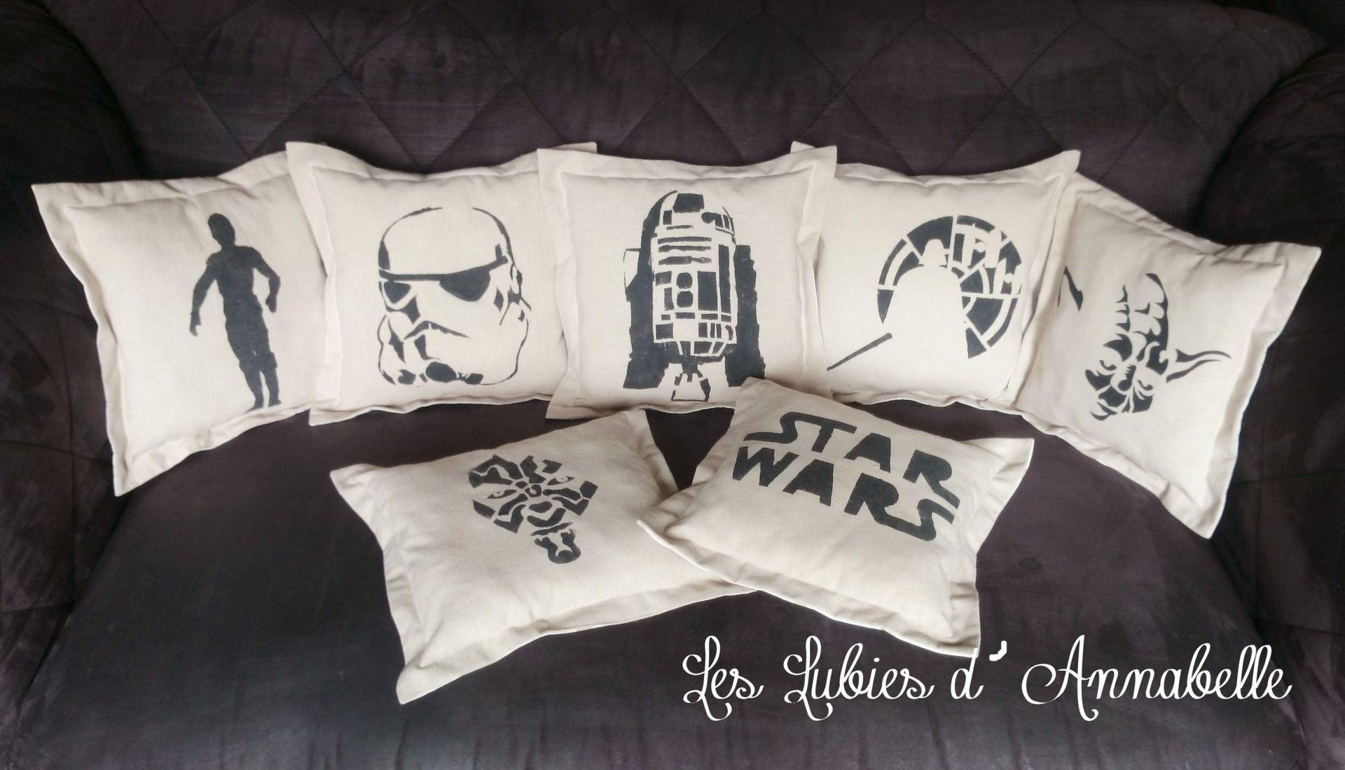 Coussin Star Wars Soldat De L Empire En Lin Et Tissu Blanc Etoiles