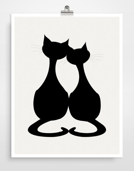 """Download Black silhouette of """"Love Cats"""". … (With images ..."""