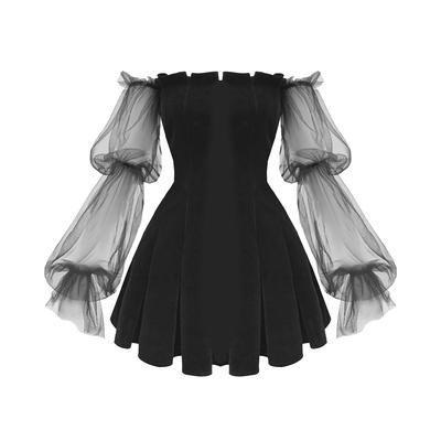Photo of Gothic Off Shoulder Lantern Mesh Sleeve Mini Dress – ROCK 'N DOLL,  #Doll #Dress #Gothic #Lan…
