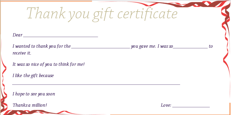 Red Ribbons Thank You Gift Certificate Template  Beautiful