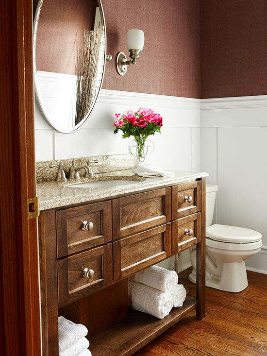 What Is A Powder Room 5-minute fixes for a more beautiful bath | deep brown, earthy and