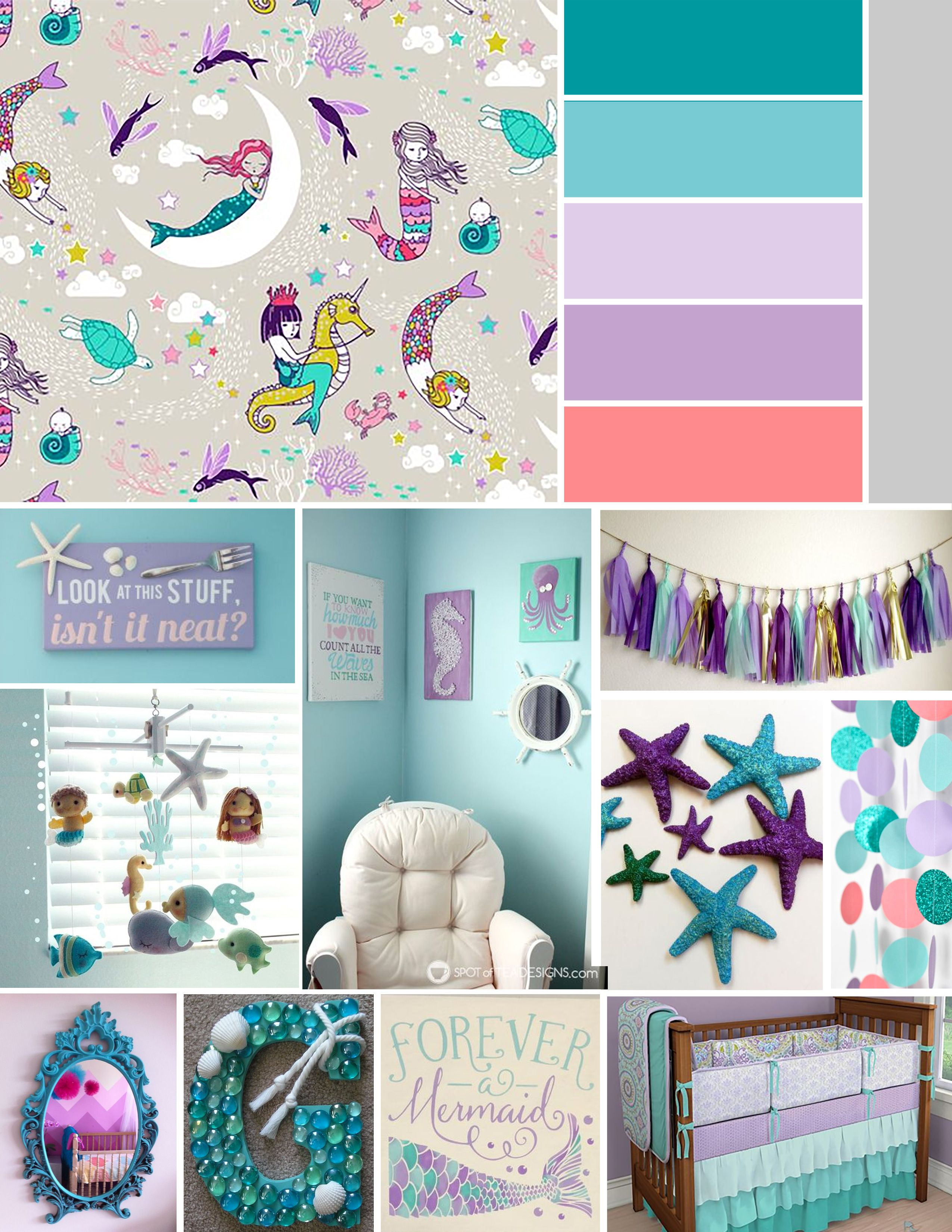 Mermaid bathroom decor for kids - Baby Girl Bannon Nursery Inspiration Mermaid Nautical Theme Teal Purple Grey