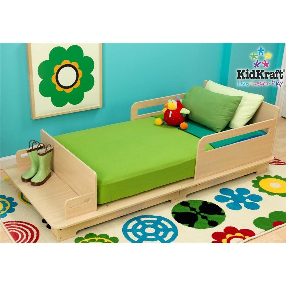 Kidkraft Modern Wooden Toddler Bed Very Low To Ground Built In Rails For Added Protection Like The Bench At End