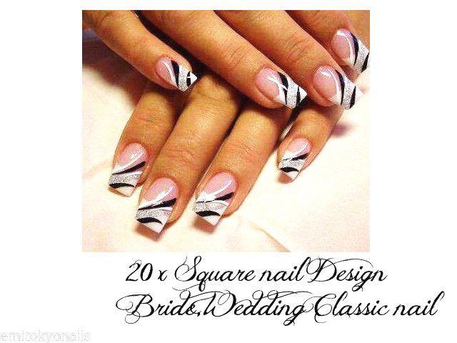 20x Square nails japanese nail art,false nails+free shipping+glue
