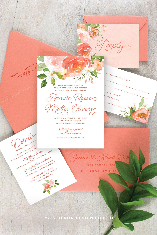 Coral Wedding Invitations Boho Floral Wedding Invitation Set Etsy In 2021 Coral Wedding Invitations Wedding Invitations Boho Boho Floral Wedding Invitations