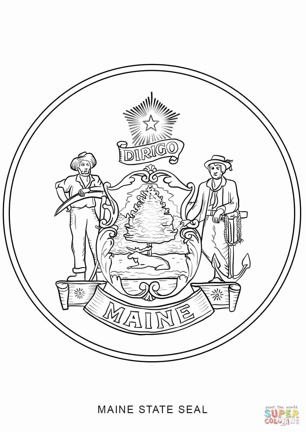 Maine State Flower Coloring Page Fresh Maine State Seal Coloring Page Flag Coloring Pages Coloring Pages Flower Coloring Pages