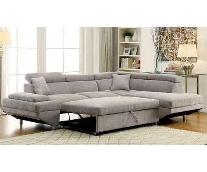 foa cm6124gy foreman gray flannelette fabric with adjustable headrest sectional sofa bed