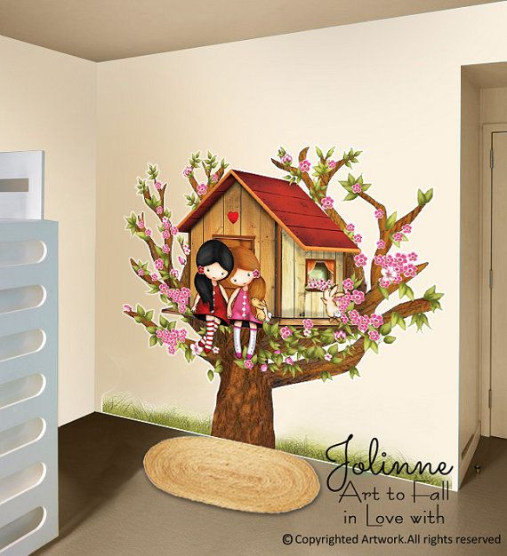 Girls In Tree House Wall Decal Sisters Room Wall Decor Vinyl Big - House wall decals