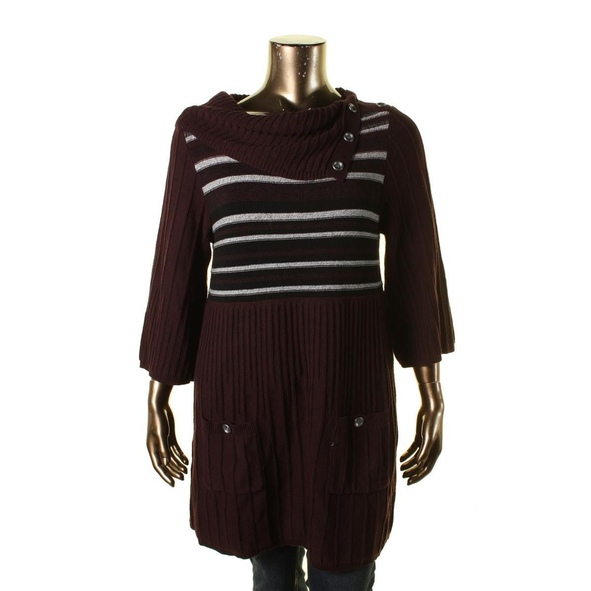 Style & Co. Womens Knit 3/4 Sleeves Tunic Sweater