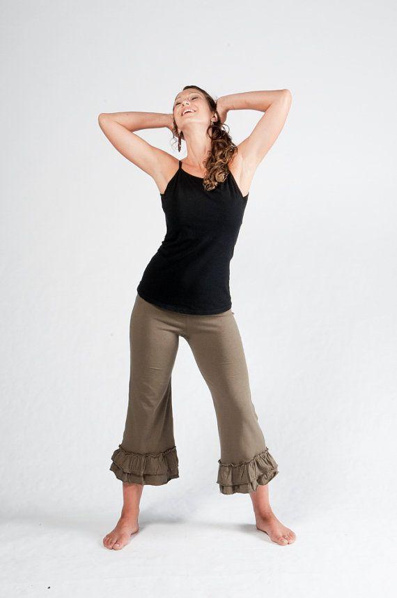 bfa67ad35aec0 Womens Ruffle Capris-Yoga Pants-Ruffle Capris-Yoga Bloomers-Yoga Clothing-Green  Pants-Cotton Pants-Womens Bottoms-Funky Hippie Pants via Etsy