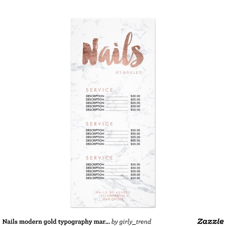 Nails modern gold typography marble price list rack card | Pinterest ...
