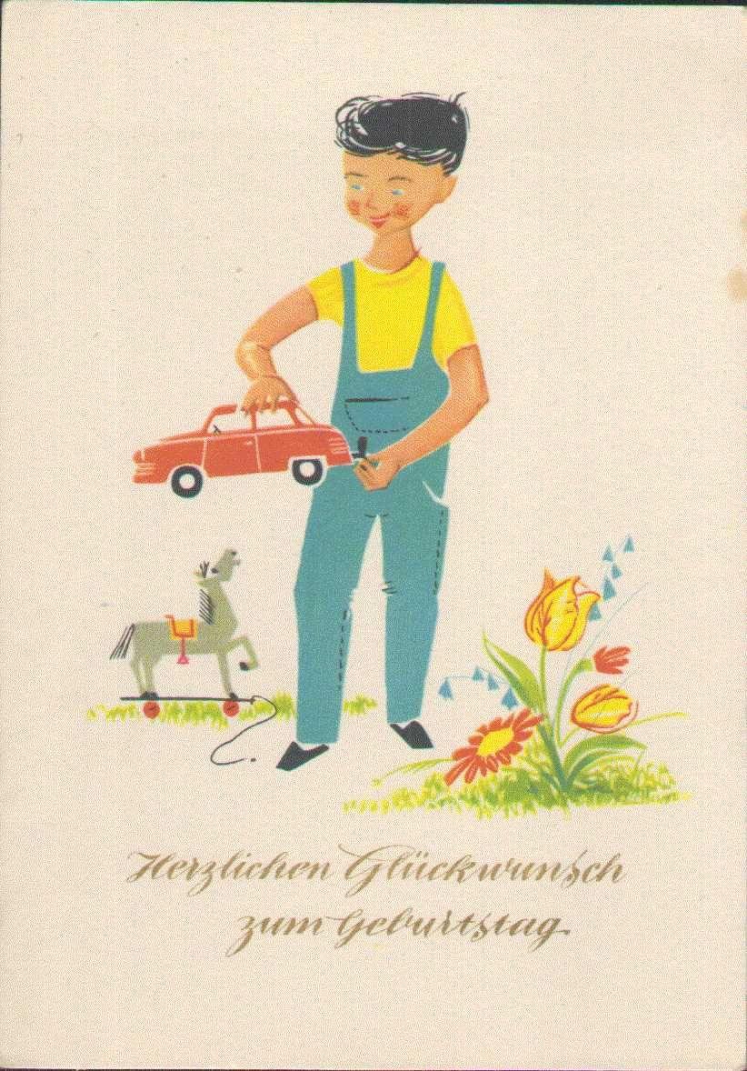 Geburtstag DDR 1963 Kind mit Spielzeug Auto, Pferd   Die