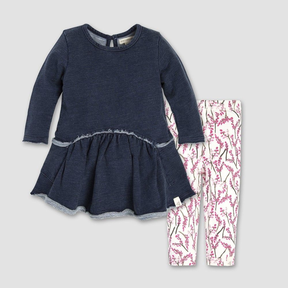 9681becf8 Burt's Bees Baby Baby Girls' French Terry Denim Wash Dress and Leggings Set  - Midnight 12M, Blue
