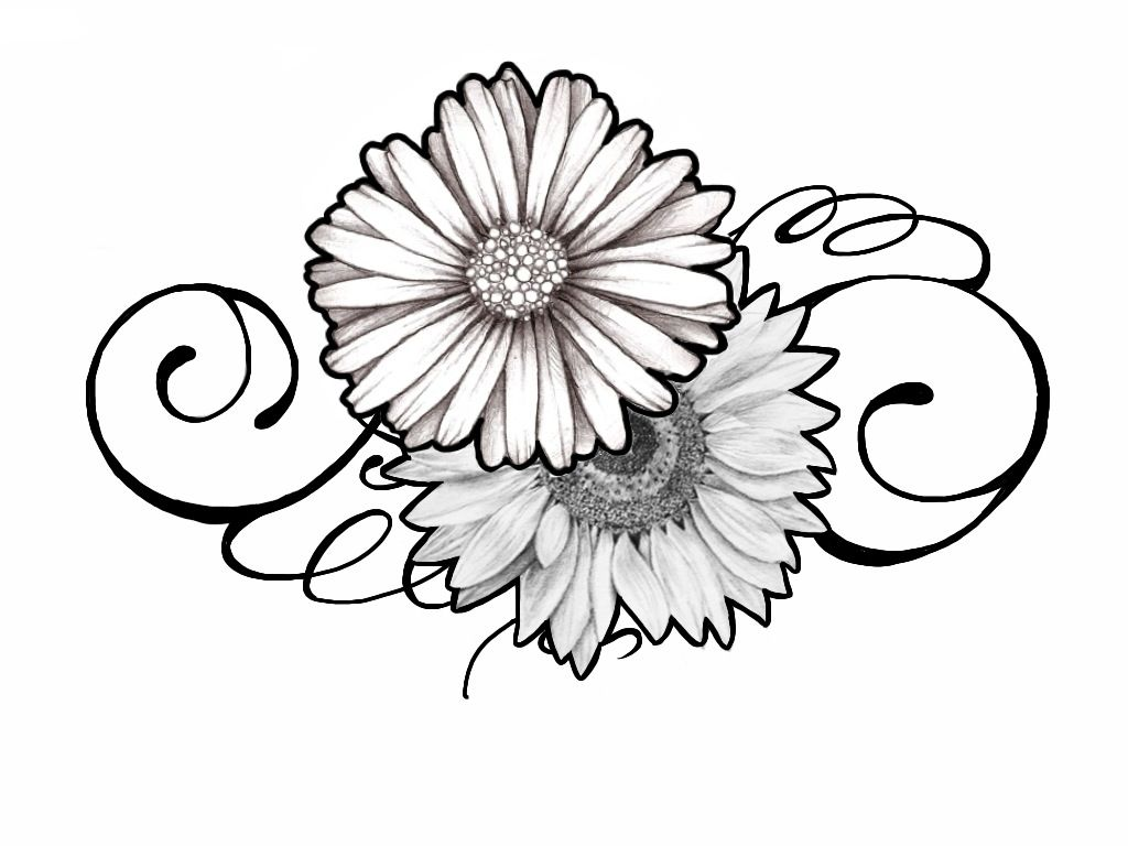 Tattoo Design Daisy And Sunflower Swirly By Johnnyschick Deviantart Com On Deviantart Daisy Tattoo Designs Sunflower Tattoo Design Sunflower Tattoo Simple