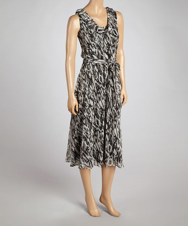 Loving this MSK White & Black Abstract Sleeveless Maxi Dress on #zulily! #zulilyfinds